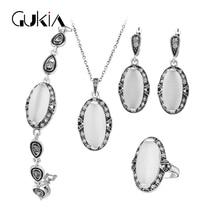 Mujeres Turco Conjunto Piedra Natural White Opal Joyería de La Vendimia Sistemas de la Joyería de Plata Antigua Plateó el Colgante Collar de La Joyería de La Boda