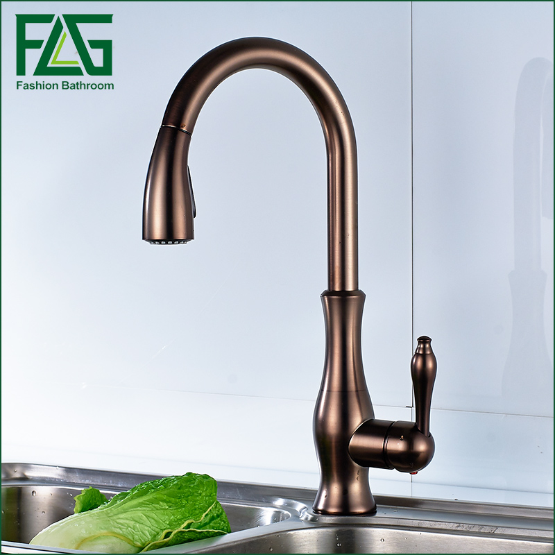 FLG Black Oil Rubbed Bronze kitchen faucet, 360 rotating Antique blackened red stone sink tap, cold and hot kitchen mixer tap