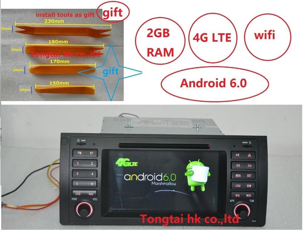 imágenes para 7 pulgadas Android 6.0 para bmw E39, X5, M5 E53 coche dvd, gps, wifi, 4G lte, radio, RDS, canbus, 2 GB de RAM, quad core, 1024x600, soporte dvr, rusia