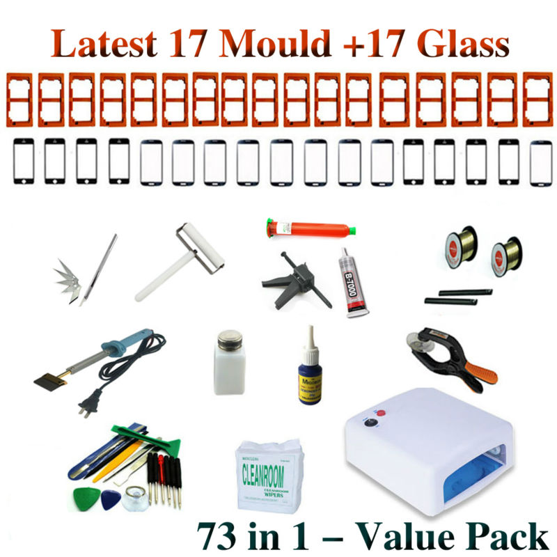 2017 73 in 1 Suite package For LCD separator UV Lamp mobile open tools Screen Mould Glass Glue Gun UV Loca Glue 3 in 1 for sumsung bezel middle frame separator vacuum glass panel lcd screen separator preheater