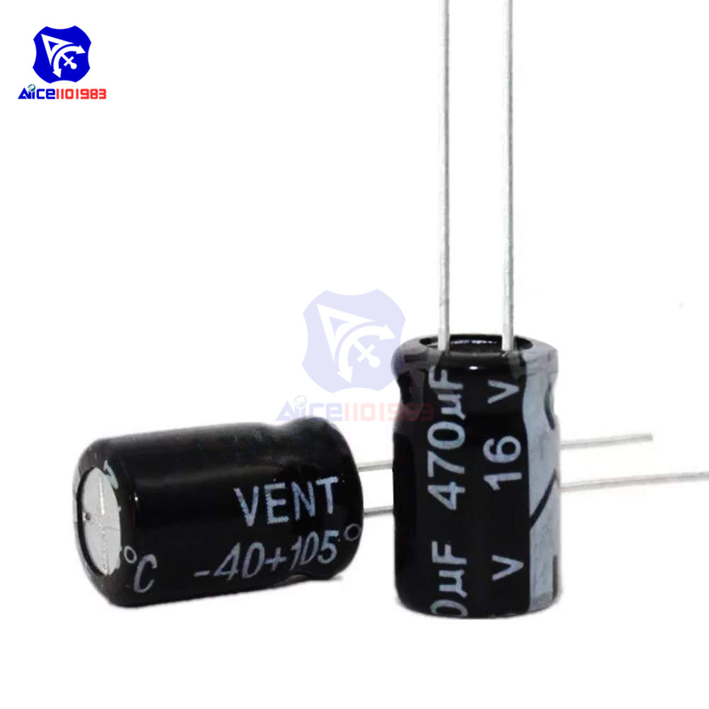 50PCS/Lot Redial Lead Aluminum Electrolytic Capacitor 16V 470uF Capacitance 8*11mm High Frequency Low ESR Electrolytic Capacitor