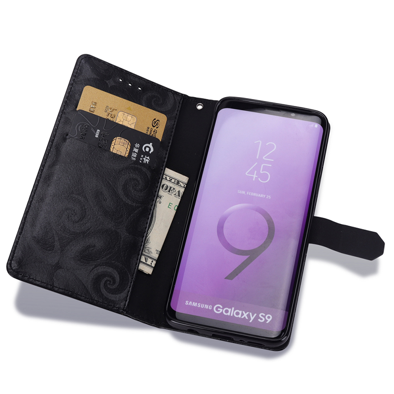 Leather Case For Samsung Galaxy S9 plus Flip Cover with Liquid Glitter Powder Wallet Card for Girls