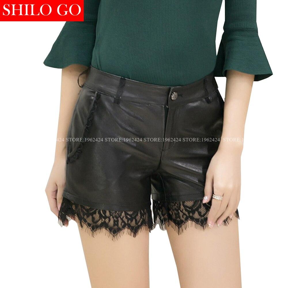 SHILO GO New Fashion Street Women Empire Black Sexy lace stitching Shorts Leather sheepskin Genuine Shorts Ladies Concise Shorts