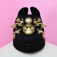 Adults Dragons Ming Dynasty Emperor hat ancient prince Chinese ancient hat China Vintage hat performance cosplay