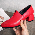 2017 Fashion Women Genuine Leather Medium High-heeled Shoes Woman Square Toe Pumps Designer Shoes Tacones Mujer Plus Size 34-42