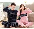 Novo Inverno Casal Pijama de Flanela Conjunto de & Calças Amante Sleepwear Pijama Dos Homens & Lady Roupas Casuais Casa