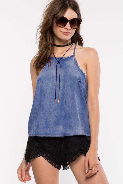 Sexy Azul Denim Top Camisa Tanque Das Mulheres Verão Tops New Design Roupas Femininas