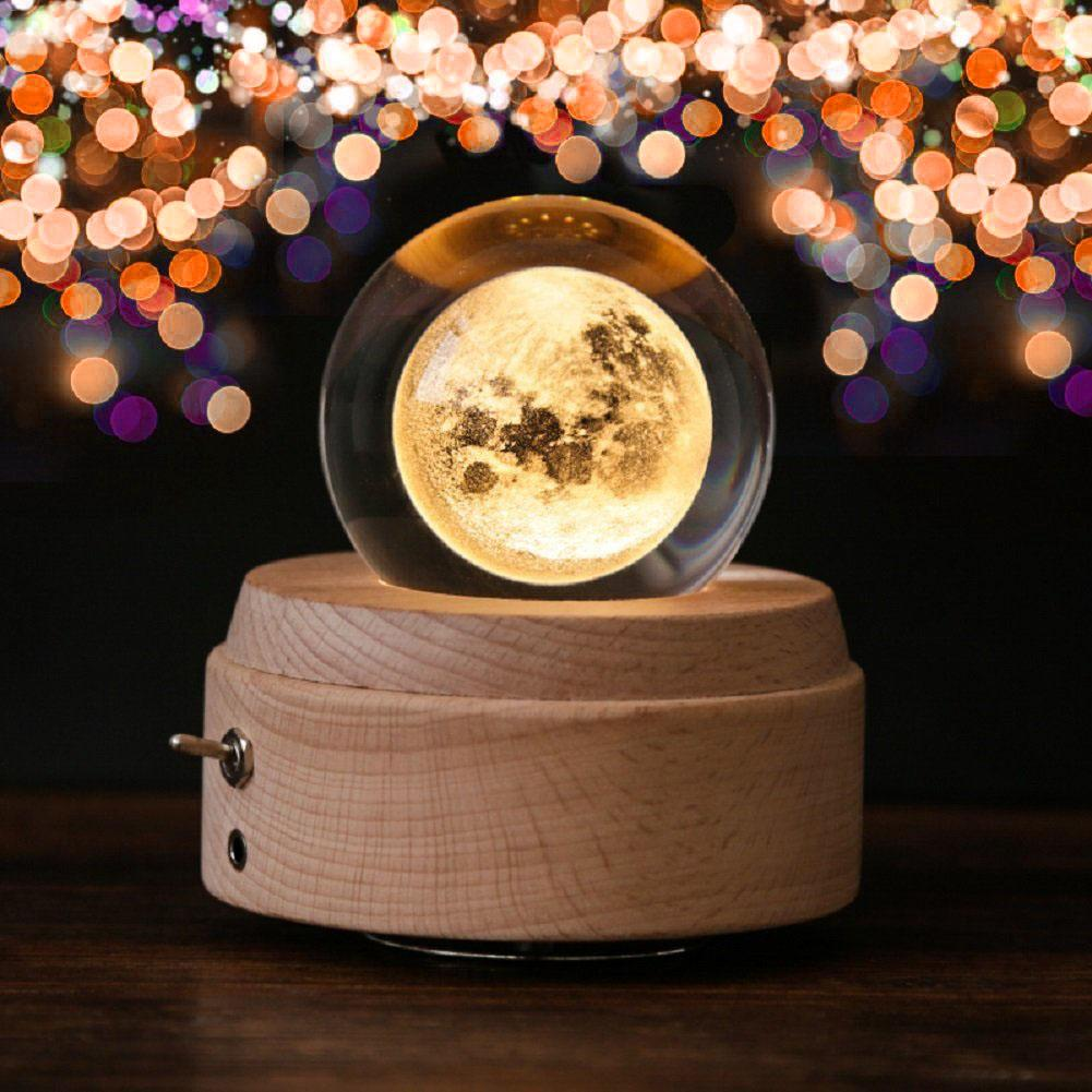 Moon Crystal Ball Wooden Luminous Music Box Music Box Rotary Innovative Birthday Gift Hand Crank Music Box Mechanism Gift
