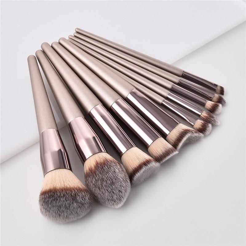 10 pçs/set Champanhe maquiagem brushes set fundação blush em pó sombra plana kabuki mistura compo a escova ferramenta de beleza