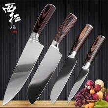 XITUO, набор поварских ножей, светильник из нержавеющей стали, кухонный нож для резки мяса, ломтик овощей, фруктов, сантоку, нож для очистки овощей, набор кухонных инструментов