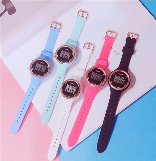Candy color jelly soft sister font b electronic b font watch female student Korean version of