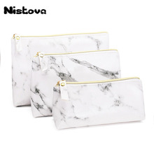 PU Leather Makeup Bags Marble Pattern Multi-function Travel Zipper Brush Storage Bag Portable Lady Cosmetic