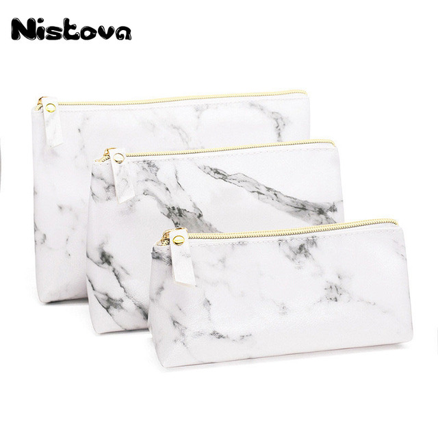 c5af2e642b51 US $5.12 23% OFF|PU Leather Makeup Bags Marble Pattern Multi function  Travel Zipper Makeup Brush Storage Bag Portable Lady Cosmetic Bag-in  Cosmetic ...