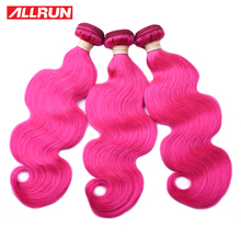ALLRUN Malaysia Body wave Human Hair Weave Bundles Colorful Hair Bundles Dark Pink Dyed Bundles Deal Remy Hair Extensions cheap ALLRUN A Malaysia Hair =10 Dark Pink Bundles Hair Extension Sew-in Zero need 5-7 days to customized Machine Double Weft