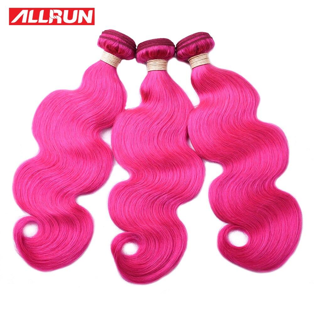 ALLRUN Malaysia Body Wave Human Hair Weave Bundles Colorful Hair Bundles Dark Pink Dyed Bundles Deal Remy Hair Extensions