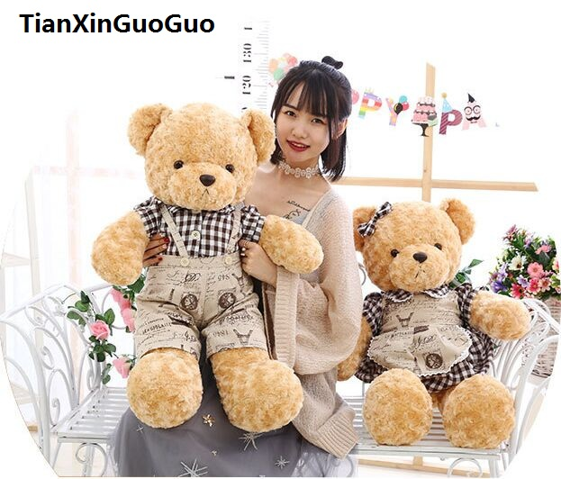 large 80cm couple teddy bears plush toy lovely dressed loves bear soft doll throw pillow Valentine's Day gift b0755 1pc 12cm kawaii lover couple valentine s day gift novelty mascot doll toy plush papa bear panda pendant for mobile phone charm
