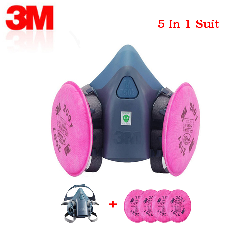 5 in 1 3M 7502 painting working half mask dustproof with 2091P100 industrial breathable fit face particulate respirator PM2.55 in 1 3M 7502 painting working half mask dustproof with 2091P100 industrial breathable fit face particulate respirator PM2.5