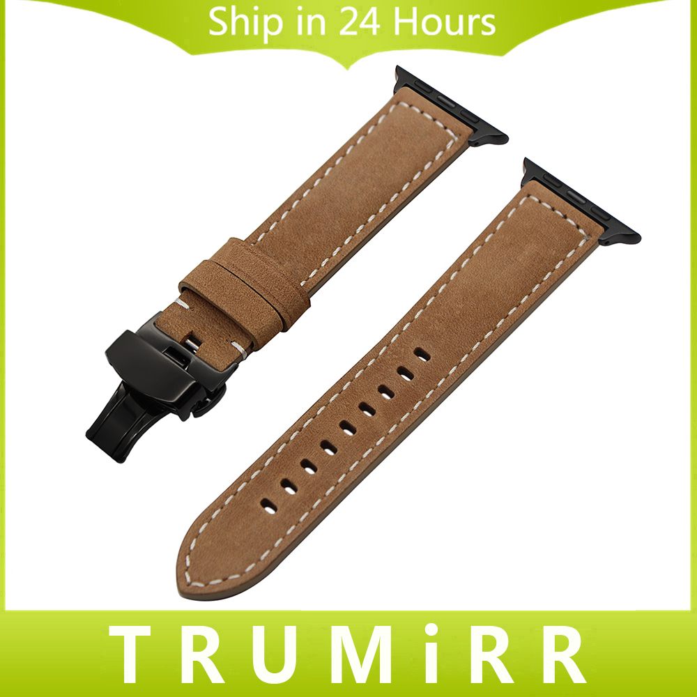 Italian Genuine Leather Watchband for iWatch Apple Watch Series 1 2 3 38mm 42mm Vintage Band Steel Butterfly Buckle Wrist Strap kakapi crocodile skin genuine leather watchband with connector for apple watch 38mm series 2 series 1 pink