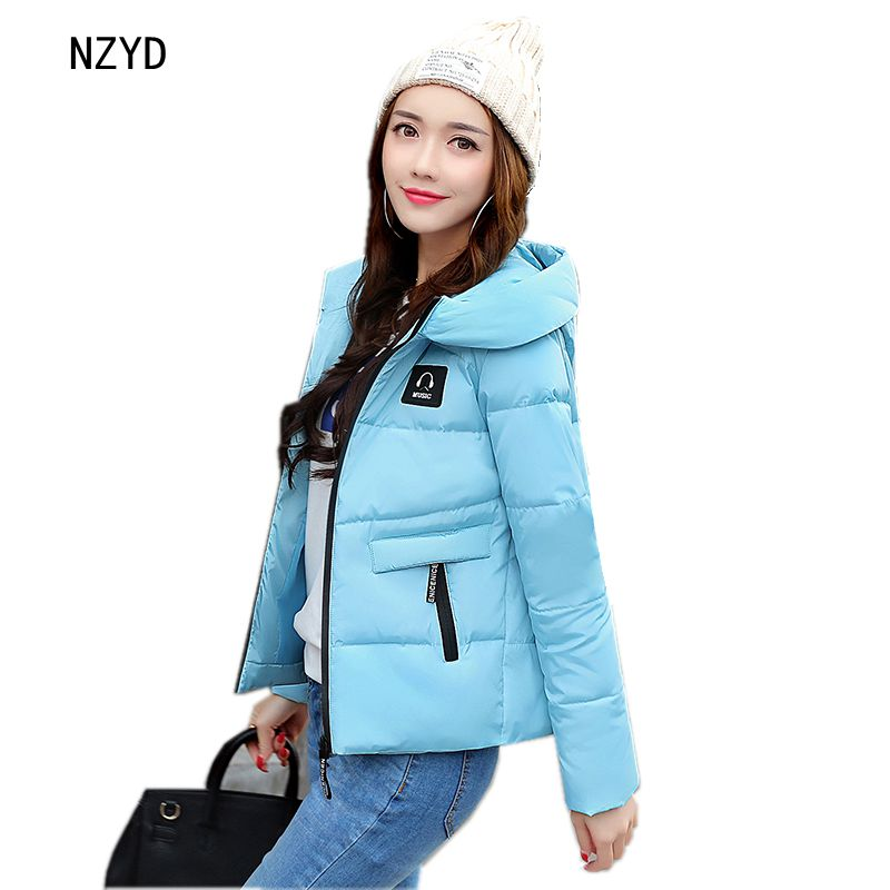 Women Winter Jacket 2017 New Fashion Hooded Thick Warm Long sleeve Down Cotton Coat Cute Slim Big yards Female Parkas LADIES271 women winter parkas 2017 new fashion hooded thick warm patchwork color short jacket long sleeve slim big yards coat ladies210