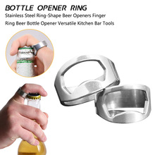 Unique Versatile Stainless Steel Finger Ring Shape Beer Bottle Opener Silver