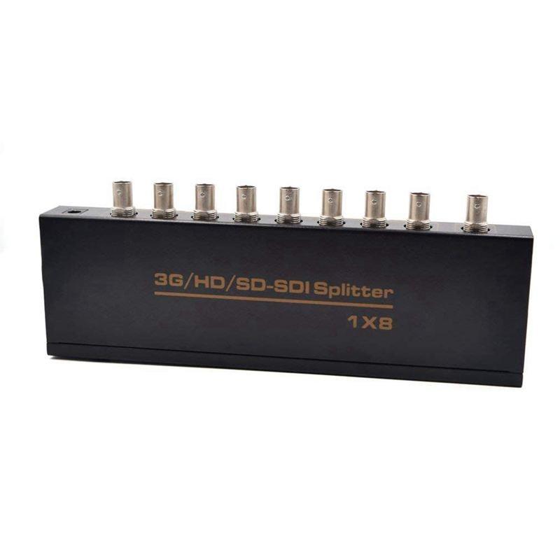 SDI Splitter 1x8 Supports SD-SDI, HD-SDI, 3G-SDI Up To Long Distances Display (1 Input 8 Outputs) US Plug