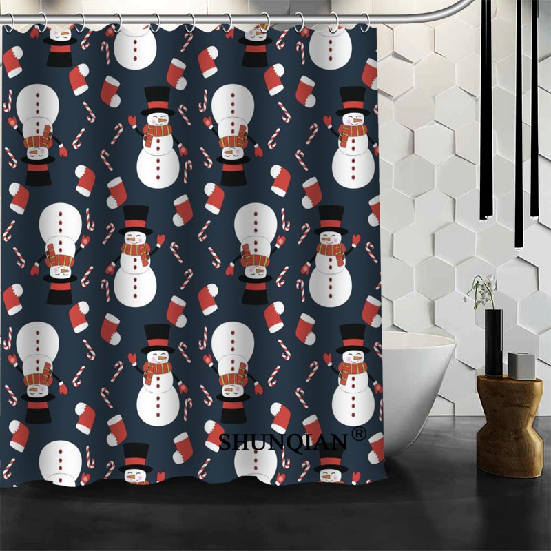 2017 Christmas Element Shower Curtain Christmas Decorations For ...