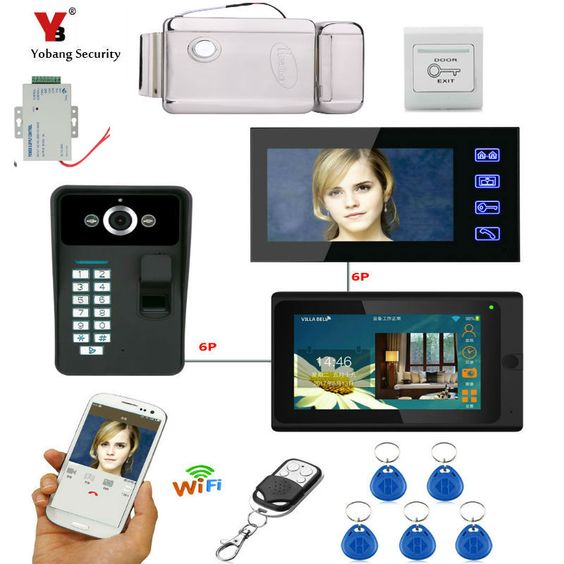 Yobang Security 7 2 Monitors Wired/Wireless Wifi Video Door Phone Doorbell Intercom System with Fingerprint 5pcs RFID Password 1v3 doorbell camera 2 4ghz video wireless videocitofono video door phone with 3 indoor monitors for door access security
