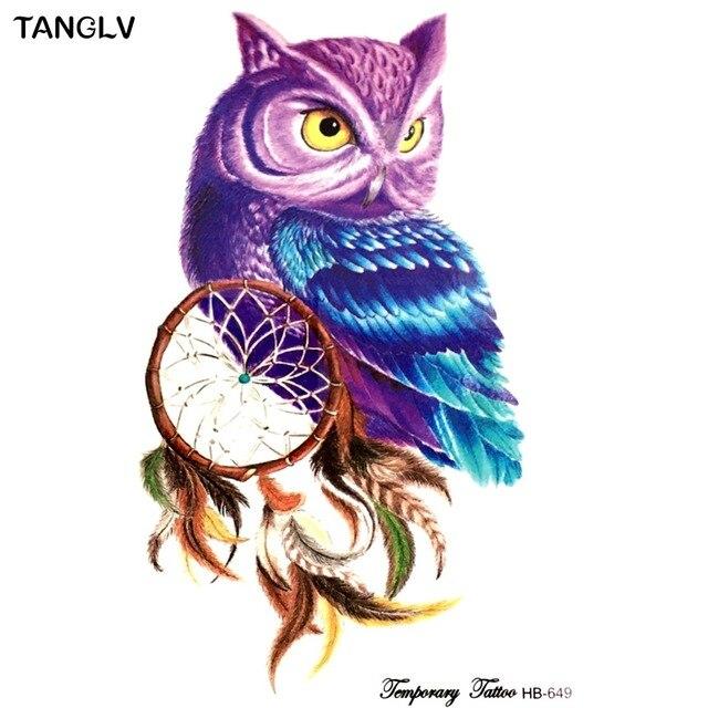 Aliexpress Buy 40piece Temporary Tattoo Color Owl Dream Catcher Cool Animal Dream Catchers