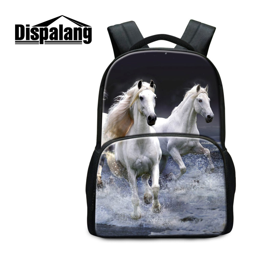 Dispalang Children School Bag Animal Horse 3D Printing Womens Laptop backpack Mens Travel Backbag Casual Bags for Teenager