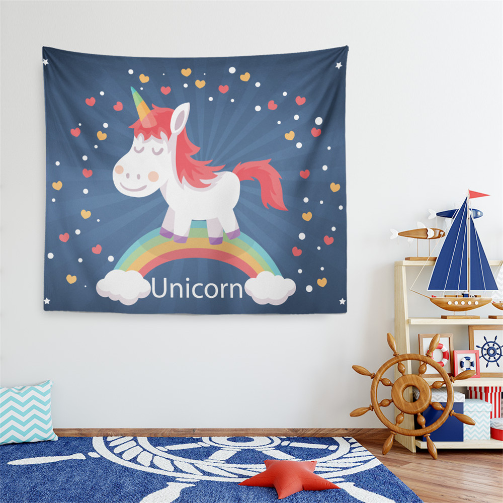 Cute Unicorn Tapestry Cartoon Print Child House Wall Hanging Blanket Home Decor Camping Carpet tapisserie murale D15 image