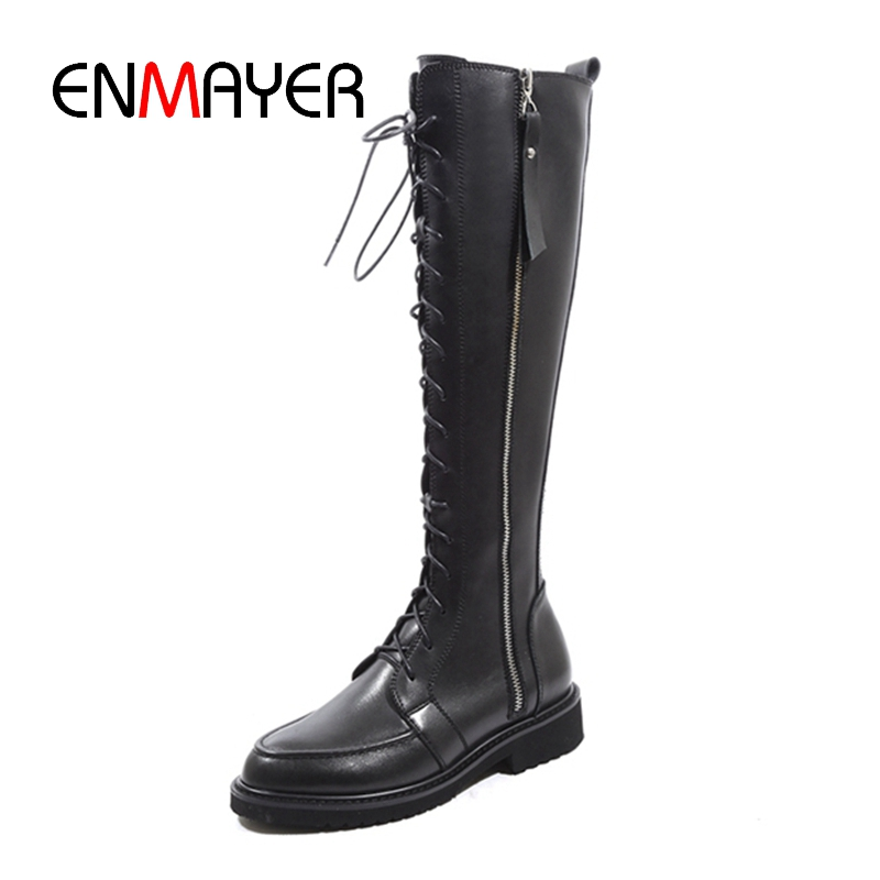 ENMAYER Women round toe zipper lace up knee high marten boots lady fashion square heel boots Black shoes Big size 34-42 ZYL1096 цена