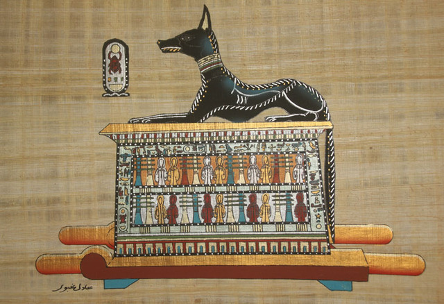 "Egyptian Wall Decor wall art home decor egyptian papyrus ""reclining anubis"" hand"