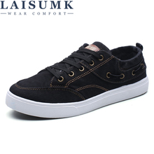 LAISUMK Men Canvas Shoes Breathable Patchwork Flats High Quality Casual Fashion Trend Sneakers