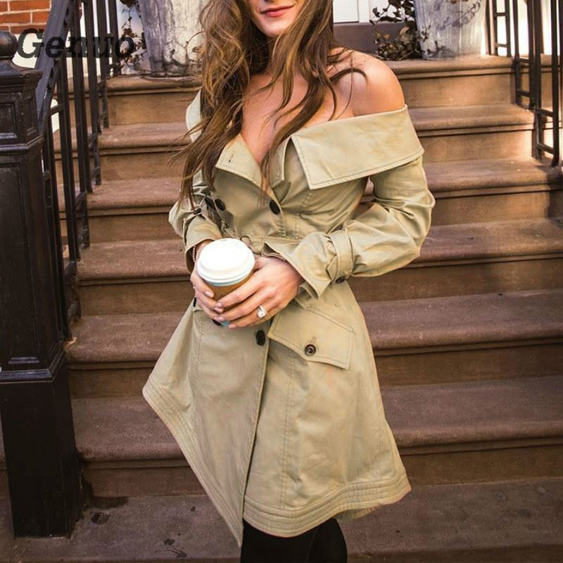 Genuo Sexy Slash Neck Autumn   Trench   Coat Casual women's windbreaker with Belt Elegant Office Lady Casual casaco feminino coat
