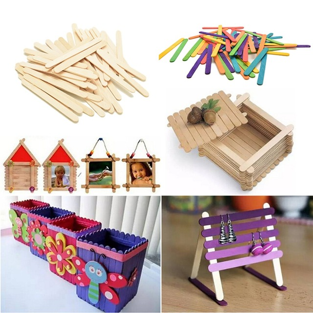 50PCS Lot Large Wooden Popsicle Sticks Kids Hand Crafts Toy Ice Cream DIY Lolly Making