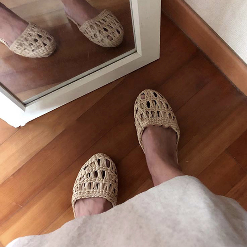 AGESEA summer unisex home women's straw slippers couple