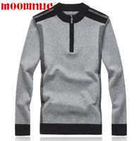 Sweater Casual Mens Fashion Sweater Long Sleeve Solid Color Lapel Large Size Zipper Business Classic Slim Autumn Brand MOOWNUC