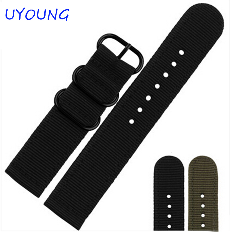 UYOUNG Watchband 20mm 22mm ZULU watch band NATO Nylon Watch Strap 304 stainless steel Buckle free shipping durable canvas fabric strap steel buckle wrist watch band 20mm 22mm pin buckle durable replacement watchband nato strap colorful