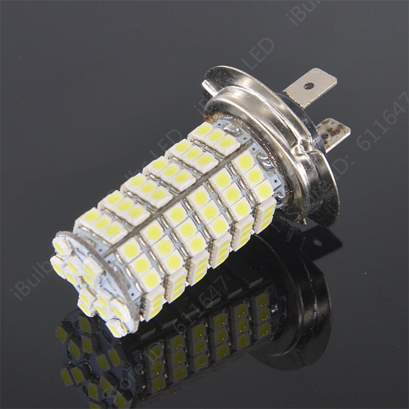 1Pcs High Quality Car H7 120 LED 3528 SMD Pure White Auto Light Source Fog Driving light Lamp Bulb DC12V