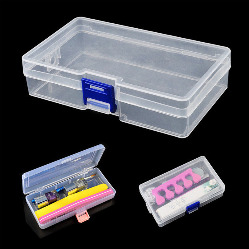 1pc Rectangle Nail Art Storage Box Transparent Display Case For Jewelry Beads Pills Nails Tips Portable Nail Art Equipment Tool