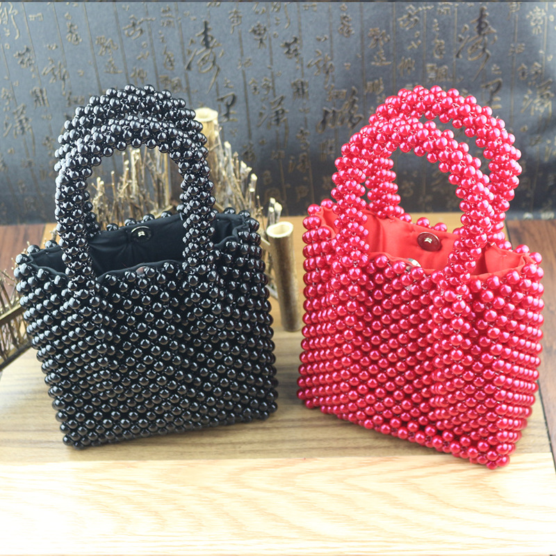 Luxury Brand Hand woven Pearl bags DIY Solid Color Women Beaded Handbag Elegant Evening Bag Retro