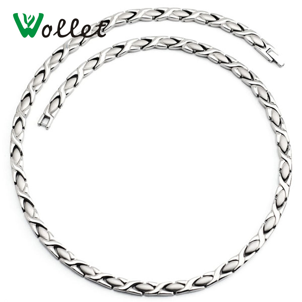 Wollet Jewelry Health Energy Magnetic Pure Titanium Necklace Infrared Germanium Relieve Fatigue Cervical Spine Necklace ...