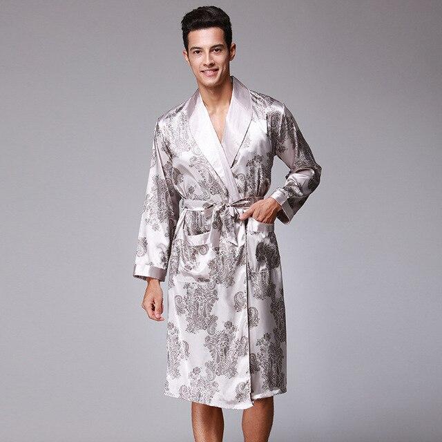 New Arrival Gray Chinese Men s Rayon Robe Nightwear Kimono Yukata Gown  Summer Casual Sleepwear L XL XXL Z001 fc7a6ca37