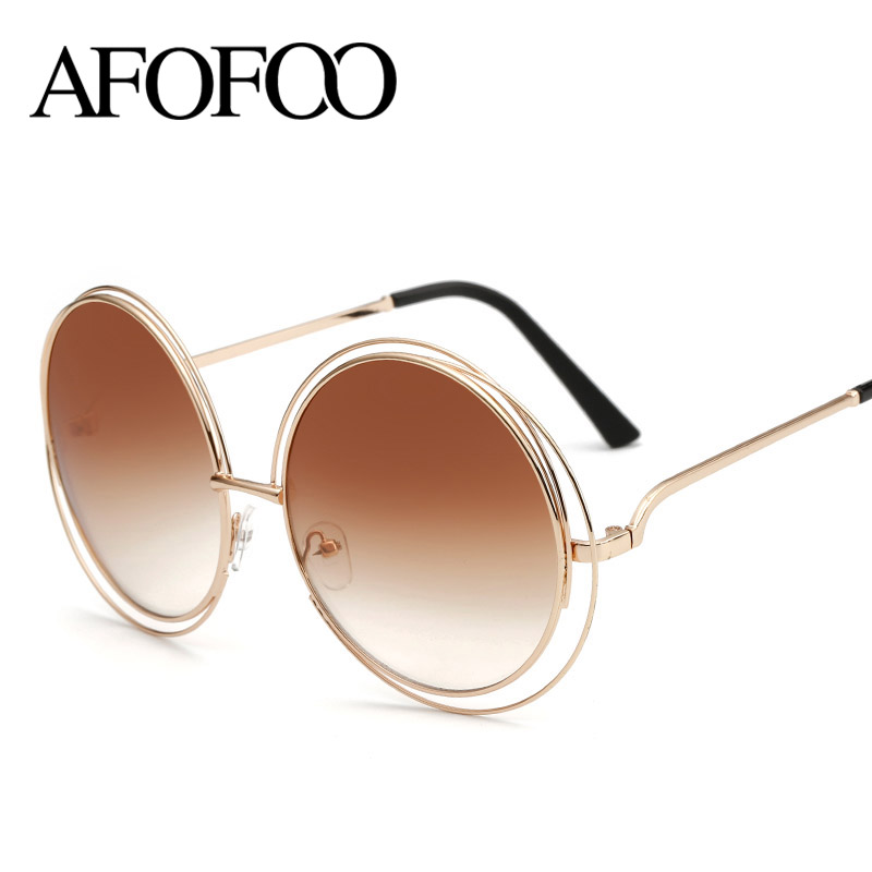 AFOFOO New Fashion Wire Frame Sunglasses Brand Designer ...