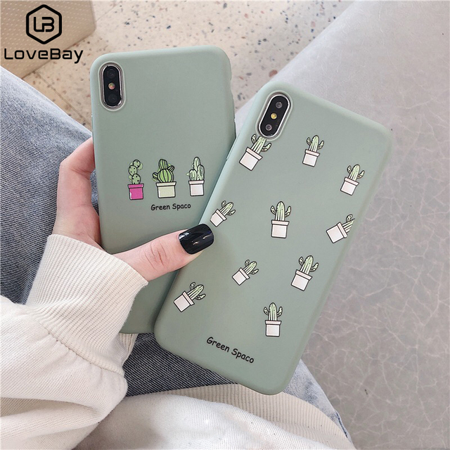 Lovebay Phone Case For iPhone 6 6s 7 8 Plus X XR XS Max Cute Green Cactus Potted Plant Face Soft TPU For iPhone 5 5S SE Cover