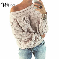 Weljuber 2017 New Off Shoulder Sweater Knitted Loose Warm Knitwear Blouse Winter Christmas Ladies Sexy Thicken