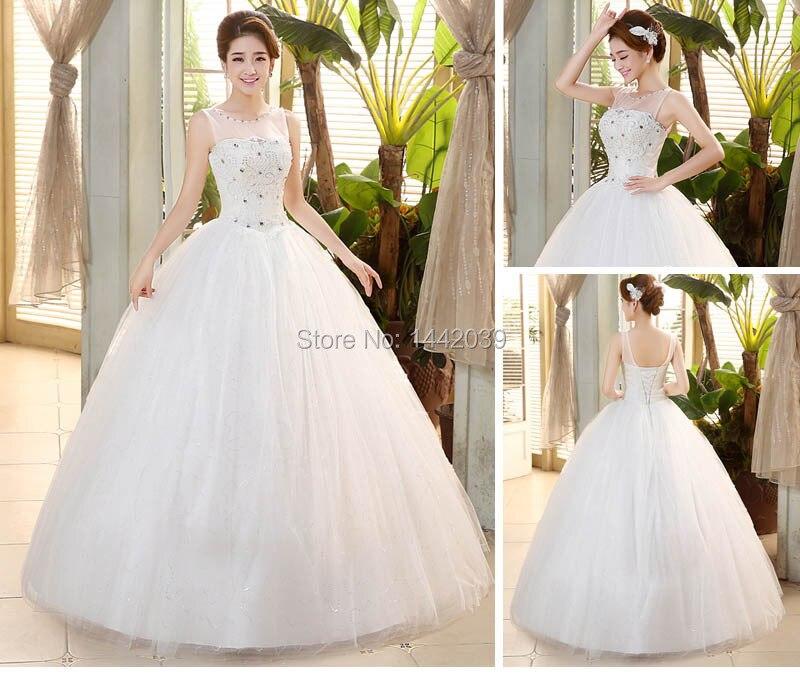 Cheap Sparkle Bling Princess Ball Gown Wedding Dresses Sheer ...