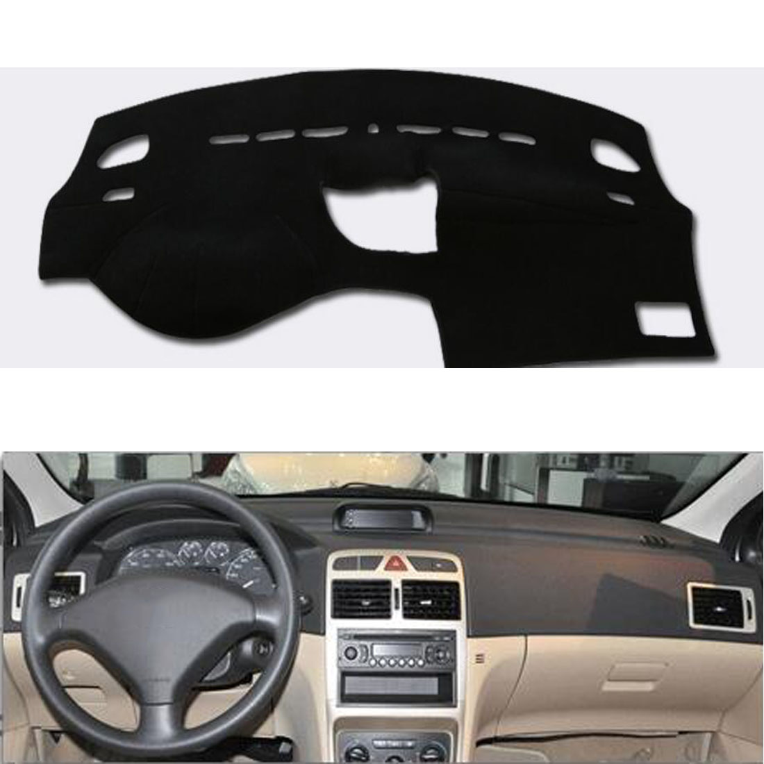 For Peugeot 307 Car Dashboard Avoid Light Pad Instrument Platform Desk Cover Mat With Velcro Auto Car Styling adapter