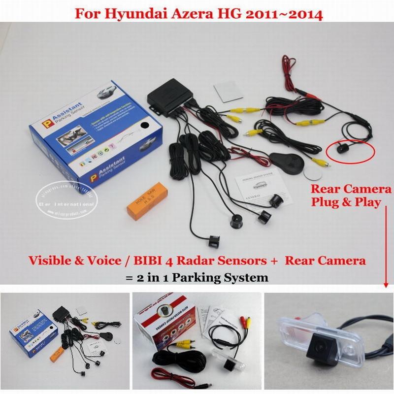 ФОТО Car Parking Sensors + Rear View Back Up Camera = 2 in 1 / BIBI Alarm Parking System For Hyundai Azera HG 2011~2014