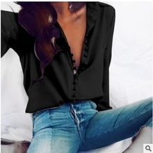 Blusas mujer de moda 2019 spring and summer new fashion plus size casual solid color long-sleeved button shirt womens blouse